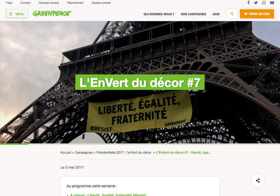 web developement greenpeace.fr